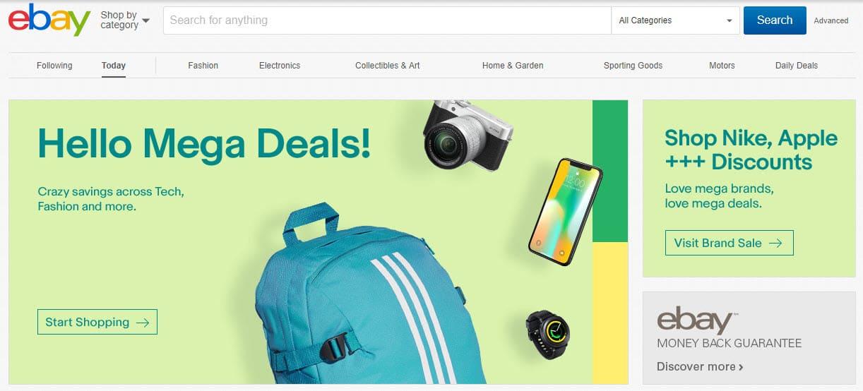 Главная страница сайта ebay.com