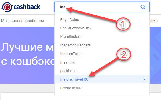 Поиск Instore Travel в еПН Кэшбэк через поисковую строку