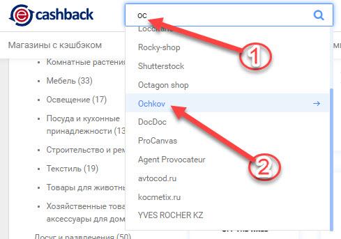 Как найти Ochkov.Net в ePN Cashback с помощью поисковой строки