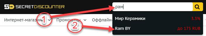 Поиск Ram.By в Secret Discounter через поисковую строку