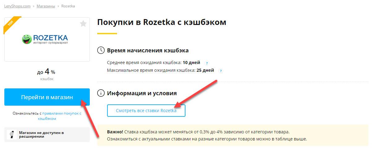 Страница партнёрского магазина Rozetka в LetyShops