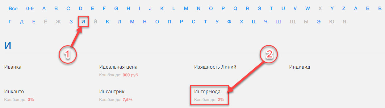 Поиск магазина Интермода в списке онлайн-магазинов на сайте promokodi.net