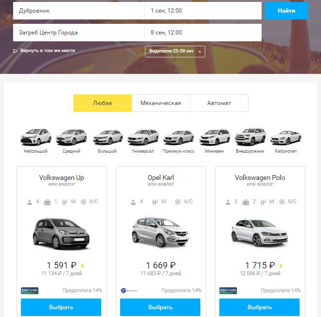 Аренда автомобиля с помощью сервиса OneTwoTrip