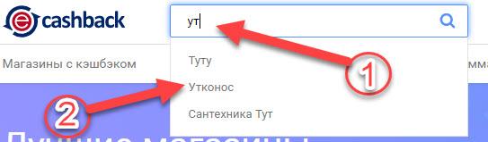 Открытие страницы магазина Утконос в ePN Cashback через поисковую строку