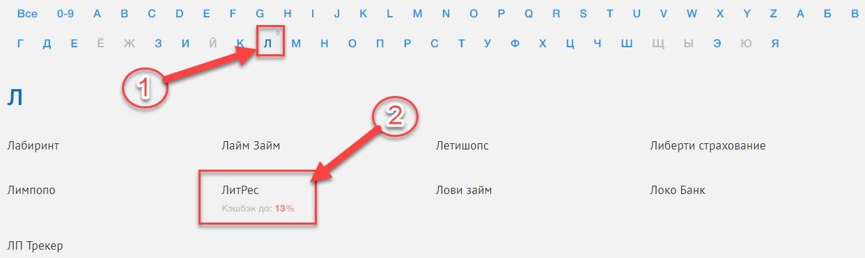 Поиск магазина ЛитРес в Промокоды.нет через каталог