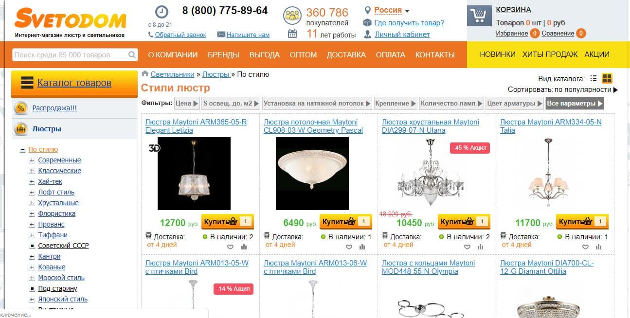 Ассортимент товаров в магазине SvetoDom
