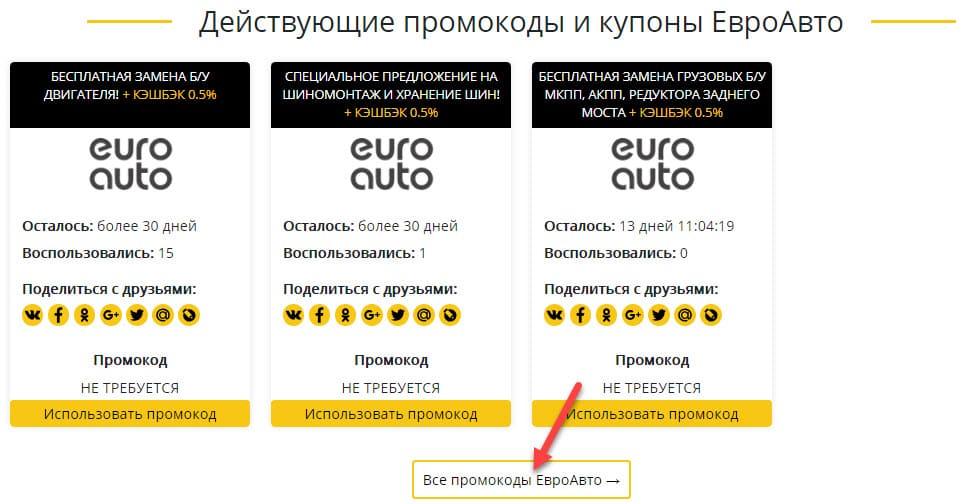 Промокоды для интернет-магазина ЕвроАвто