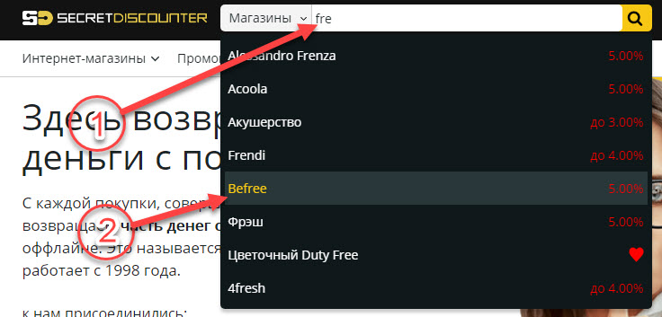Поиск интернет-магазина Befree в Secret Discounter через поисковую строку