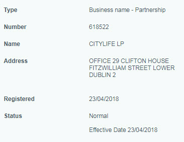 Сити Лайф зарегистрирована в Ирландии