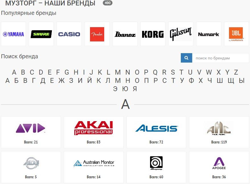 Музторг работает с 300 брендами музыкальных инструментов