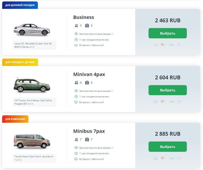 Классы авто в Киви Такси